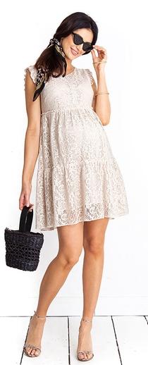 Těhotenské šaty Monique beige dress (D1012b) - 1689 Kč bd0889a65e